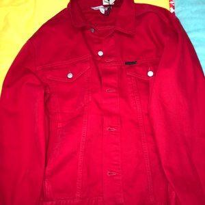 Calvin Klein red jean jacket XXL
